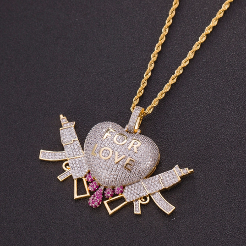Dripping Heart With Gun Pendant Necklace 6