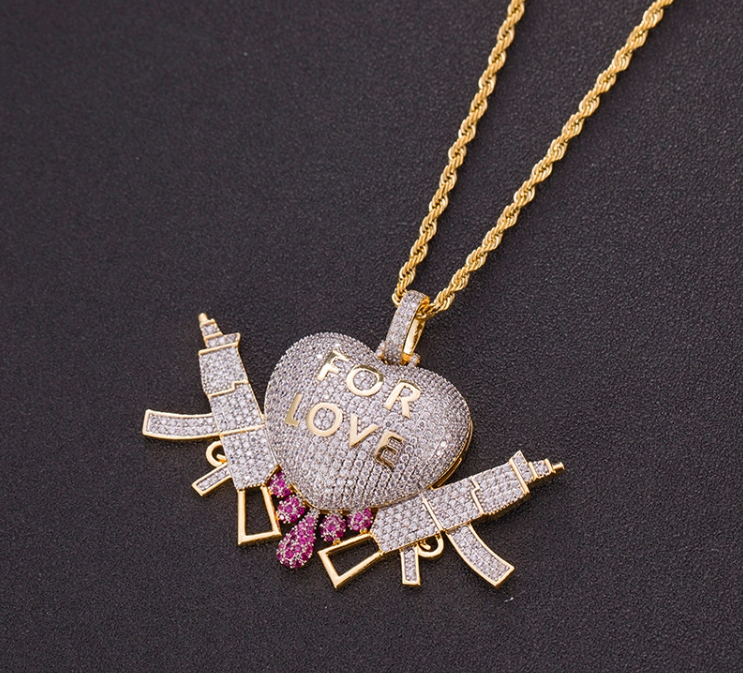Dripping Heart With Gun Pendant Necklace 2