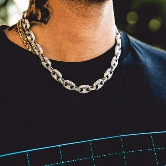 Iced Gucci Link Necklace in White Gold 1