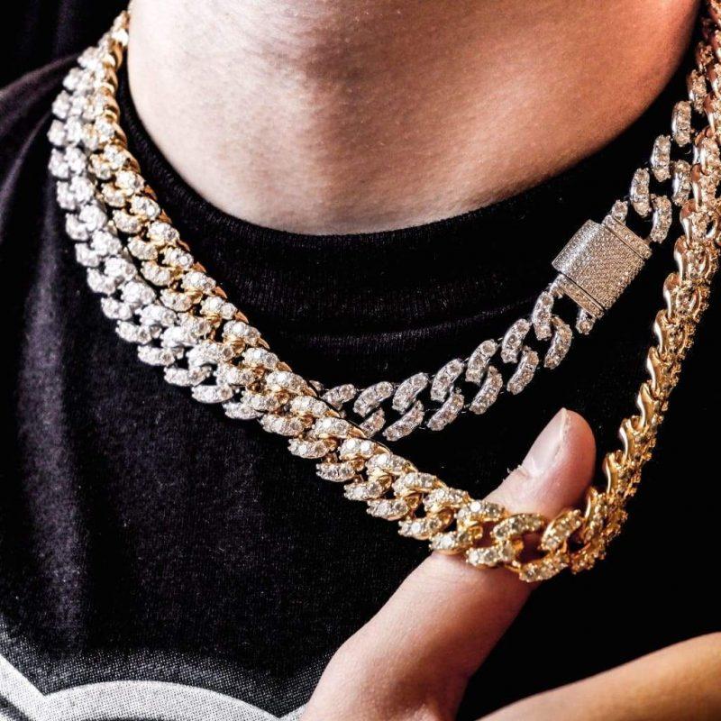 Large Stone Diamond Cuban Chain in 18k Gold-Harlex-Harlex