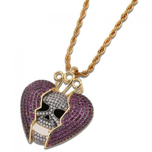 skull broken heart pendant pendant necklace men