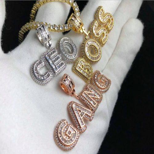 small baguette custom pendant harlex gold 3
