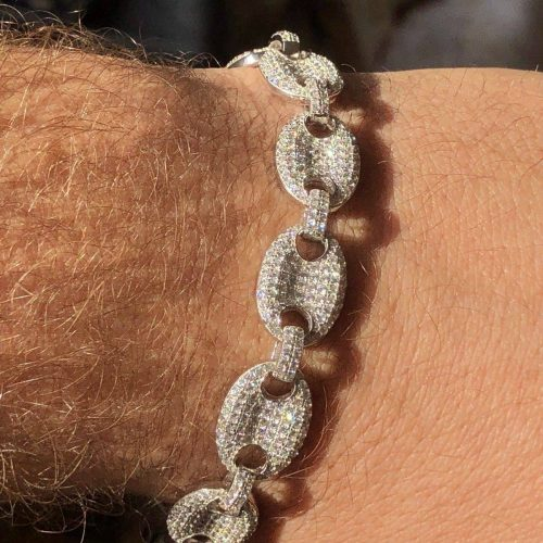 Iced Gucci Link Bracelet in White Gold 5